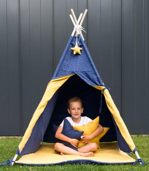 Granatowo-żółty namiot tipi do zabawy dla dzieci-wigwam noc