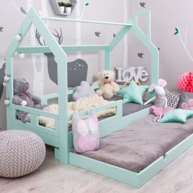 Łóżeczko dla dziecka w skandynawskim stylu.. Łóżko domek dla dziecka. Miętowe łóżko domek, niebieskie łóżko domek., białe łóżko domek