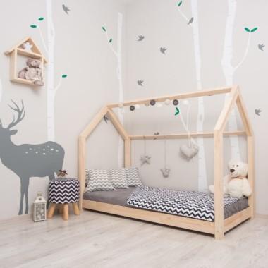 Łóżko domek dla dzieci w stylu skandynawskim. Drewniane.
