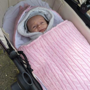 Malmo Pink – śpiworek z kapturem do łóżeczka/ gondoli wózka 60 cm