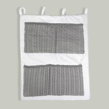 Biało-szary przybornik/ organizer do łóżeczka niemowlęcego. Na kremy, pieluchy, chusteczki, waciki.