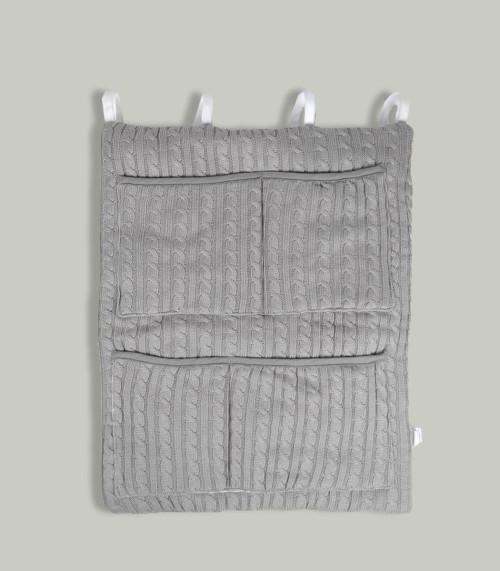 Szary przybornik/ organizer do łóżeczka niemowlęcego. Na kremy, pieluchy, chusteczki, waciki.