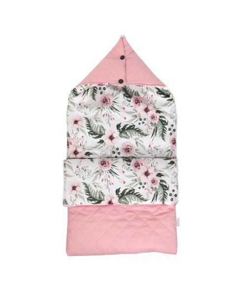 Różowy śpiworek w kwiaty do wózka/ gondoli