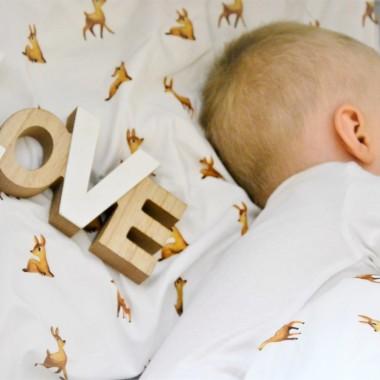 Pościel dla dziecka/ niemowlaka-biała w sarenki.