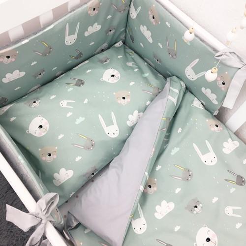 Wyjątkowy komplet pościeli dziecięcej, kołderka + poduszka Królik&Miś.