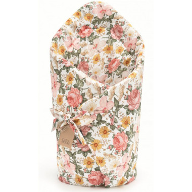 Rożek zawiązywany jest na troczki. Rożek dla noworodka-w kwiaty.