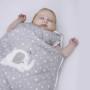 Szary śpiworek do spania dla niemowlaka/ pół rocznego dziecka. Śpiworek ze słonikiem.