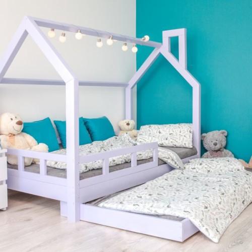 Łóżko Domek dla Dzieci Leo Kolor Barierki Szuflada