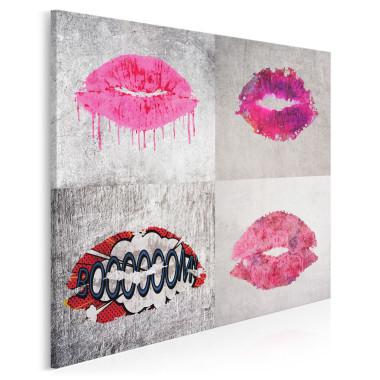 Różowo-szary obraz na płótnie- usta