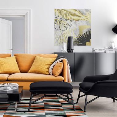 Delikatny obraz ze słotymi liśmi- do salonu, sypialni, jadalni, gabinetu, hotelu-obraz na płótnie