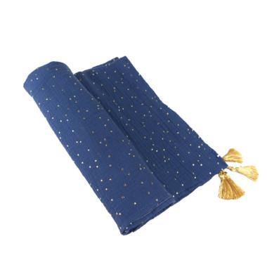 Blink Blue – otulacz muślinowy z chwostami 110×120 cm