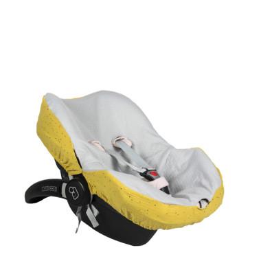 Pokrowiec na fotelik samochodowy maxi cosi. Szary z żółtym.