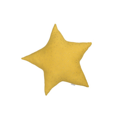 Poduszka ozdobna w kształcie gwiazdy wykonana z tkaniny wypełniona antyalergicznym silikonowanym włóknem poliestrowym. Skład: pikowana 100% bawełna