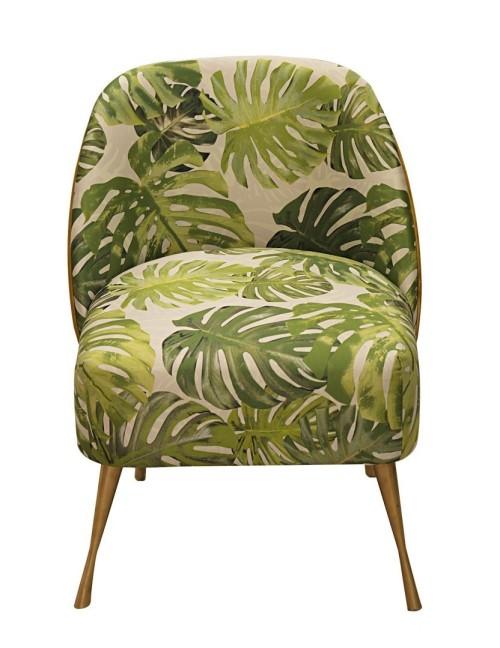 Miękki i wygodny fotel w liście Monstera. Idealny do sypialni, salonu lub wnętrz komercyjnych: kawiarnie, kluby, puby.