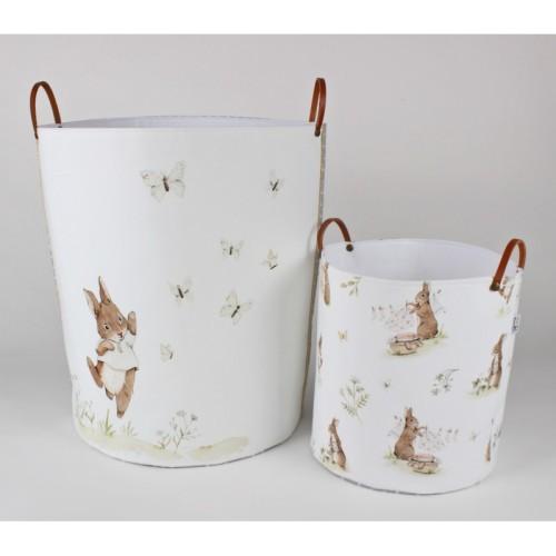 Pojemniki/ kosze na zabawki do pokoju dziecka-białe z króliczkami