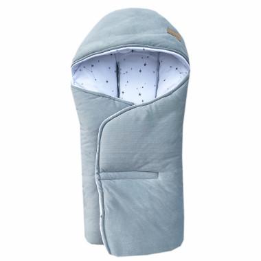 Cieplutki otulacz do fotelika jesienno – zimowy w uroczy wzór Konstelacja, wykończony miękkim minky velvet w szarym kolorze.