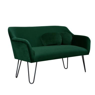 Pluszowa, aksamitna sofka do salonu, sypialni, recepcji, pubu, kawiarni. Butelkowa zieleń.