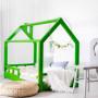 Zielone łóżeczko domek do pokoju dziecka,barierki, komin, kolorowe łóżeczko. Pokoiki dziecięce.