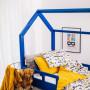 Granatowe łóżeczko domek do pokoju dziecka,barierki, komin, kolorowe łóżeczko Pokój niemowlaka.