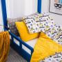 Łóżko domek drewniane Cleo Kolor+Barierkibambusowe prześcieradło 60×120 ECRU Łóżko domek drewniane Cleo Kolor+Barierki+Szuflada