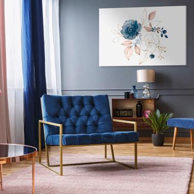Bialy obraz na płótnie do salonu, sypialni, jadalni, gabinetu -obraz z kwiatami