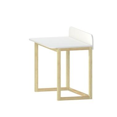 Połączenie białego blatu i drewnianych nóg daje wrażenie przyjemnego i ciepłego w odbiorze. Natomiast konstrukcja nadaje całemu meblowi lekkości i nowoczesności.   PARAMETRY:  - szerokość: 100cm - głębokość: 58cm (56+przegroda) - wysokość blatu: 75cm - Materiał: -- Blat: płyta laminowana, biała gładka + obrzeże 1mm PCV -- Nogi: drewno lite, sosnowe, lakierowane bezbarwni - Lakier wodny, bezpieczny dla otoczenia  Informacja o dostawie: Staramy się, aby nasze meble dotarły do ciebie bezpiecznie, bez uszkodzeń. Meble są wysyłane w paczce do samodzielnego montażu.  Koszt dostawy jest WLICZONY W CENĘ TOWARU i zawiera materiały do bezpiecznego transportu paczki, pakowanie oraz koszt kuriera.