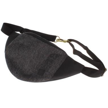 Męska czarna szara saszetka nerka torebka na pas kieszenie