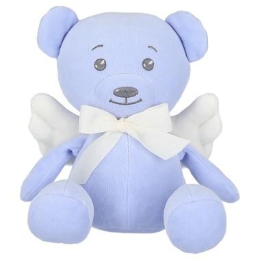 Niebieski Miś Angel ze skrzydełkami stanowi przepiękną dekoracje pokoiku dziecięcego. Wykonany z mięciutkiej i milutkiej dzianiny aksamitnej.