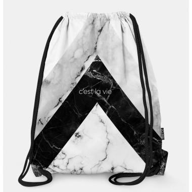 Oryginalny i bardzo praktyczny worek-plecak z modnym printem. Prezent dla nastolatki..Czarno-szary