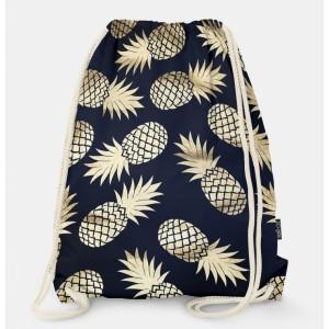 Oryginalny i bardzo praktyczny worek-plecak z modnym printem. Ananasy. Prezent dla nastolatki.