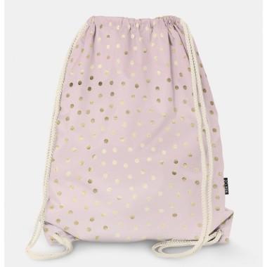 Oryginalny i bardzo praktyczny worek-plecak z modnym printem. Prezent dla nastolatki..Różowy w złote kropki