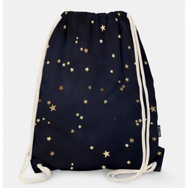 Oryginalny i bardzo praktyczny worek-plecak z modnym printem. Prezent dla nastolatki..Czarny w gwiazdki.