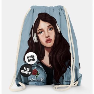 Oryginalny i bardzo praktyczny worek-plecak z modnym printem. Prezent dla nastolatki..
