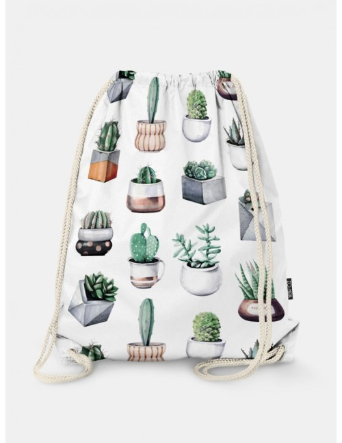 Oryginalny i bardzo praktyczny worek-plecak z modnym printem.Kaktusy. Prezent dla nastolatki.