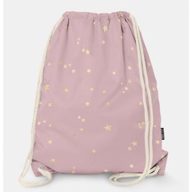 Oryginalny i bardzo praktyczny worek-plecak z modnym printem. Prezent dla nastolatki..Różowy w gwiazdki.