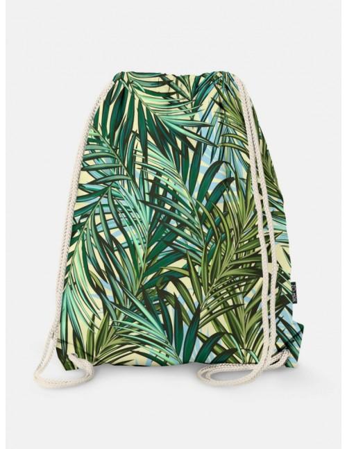 Oryginalny i bardzo praktyczny worek-plecak z modnym printem. Liście. Prezent dla nastolatki.