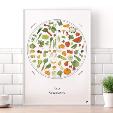 plakat do kuchni, restauracji, jadalni. Obraz z warzywami, owocami.