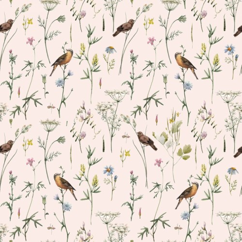Meadow with birds Pastel Tapeta