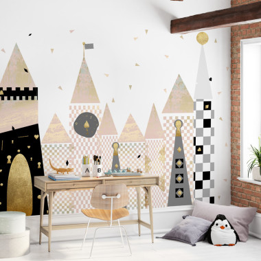 Mural dziecięcy Wonderland to oryginalna tapeta z kolekcji Wonderland, która wypełni magią każde wnętrze. Wzór tworzą wieżyczki z różnymi geometrycznymi wariacjami, a w tle wirują rozsypane trójkąciki.