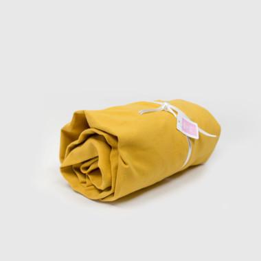Musztardoe/ żółte prześcieradło do łóżeczka dziecięcego