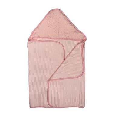Waffle Pink – duży ręcznik kąpielowy 140×70 cm z kapturem