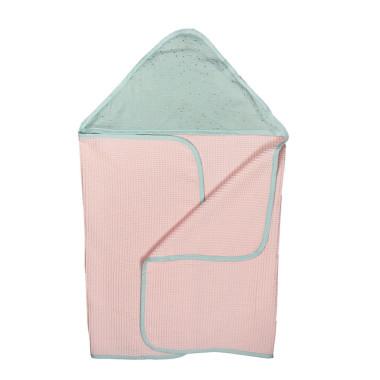 Waffle Pink/Mint – duży ręcznik kąpielowy 140×70 cm z kapturem
