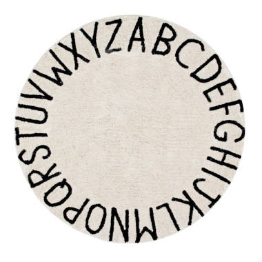OKRĄGŁY DYWAN ROUND ABC NATURAL BLACK