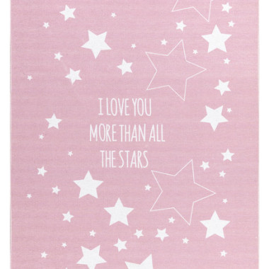 DYWAN LOVE YOU STARS RÓŻOWY