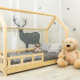 Drewniane łóżeczko domek w Kolorze naturalnym. Łóżeczko z barierkami i szufladą