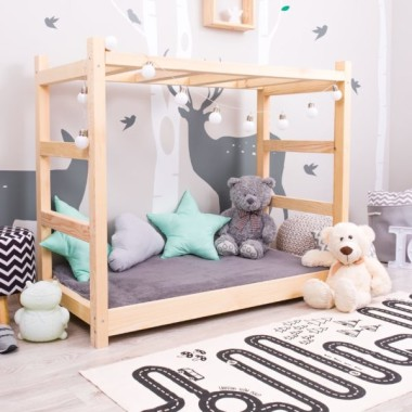 Łóżko domek drewniane Jungle naturalne