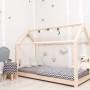 Łóżko domek drewniane Leo natural +barierki +szuflada