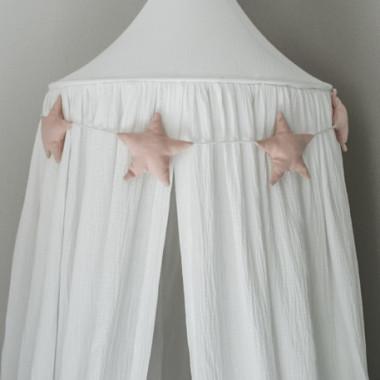 Ekskluzywny baldachim nad łóżeczko, wykonany z eleganckiego, najwyższej jakości muślinu bawełnianego. Biały.