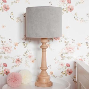 Oryginalna lampa stojąca VELVET GREY do wyboru z białą lub z olejowaną podstawką to pomysł na dodatkowe oświetlenie do dziecięcego pokoju