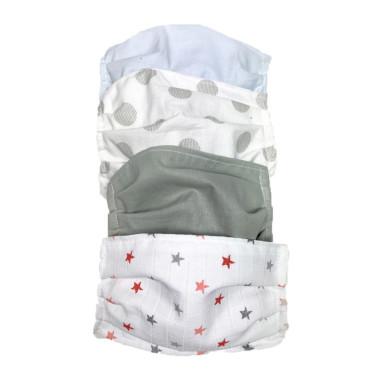 Zestaw maseczek bawełnianych. Maski natysmogowe, ochronne, korona wirus. Wzory neutralne dla mężczyzny, kobiety i dziecka.